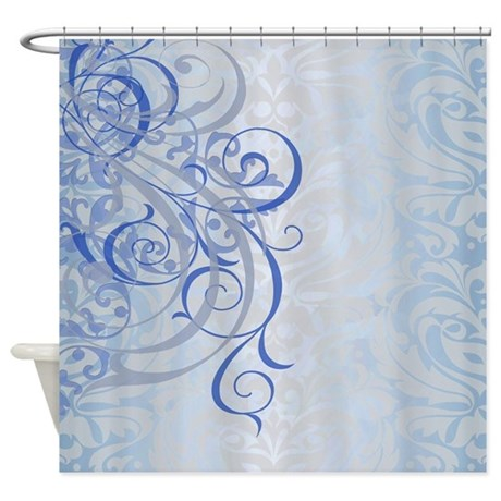 Vintage Rococo Blue Damask Shower Curtain