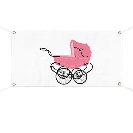 717e5434b Vintage Pink Baby Girl Stroller Banner by Allcolor