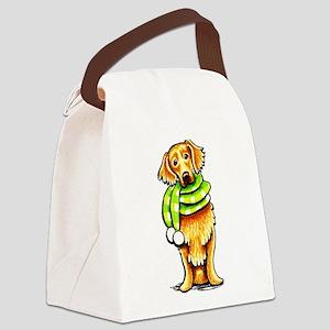 Golden Retriever Scarf Canvas Lunch Bag