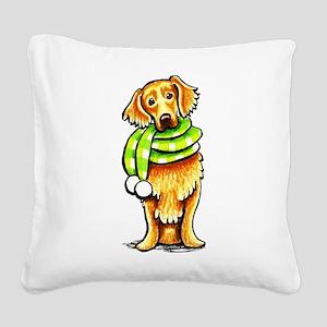 Golden Retriever Scarf Square Canvas Pillow
