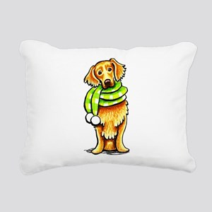 Golden Retriever Scarf Rectangular Canvas Pillow
