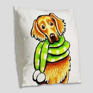 Golden Retriever Scarf Burlap Throw Pillow