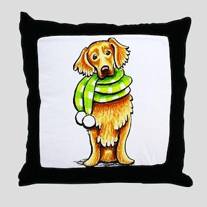Golden Retriever Scarf Throw Pillow