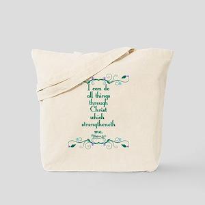 Philippians 4:13 Butterfly Vine Tote Bag