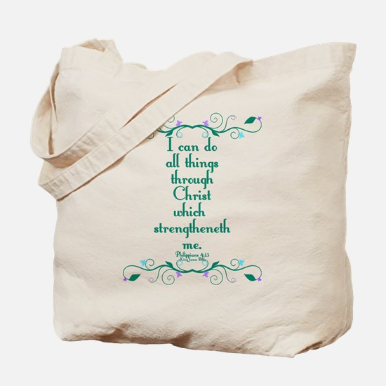 Philippians 4:13 Butterfly Vine Tote Bag