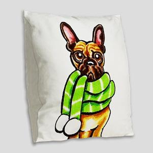 Frenchie Scarf Burlap Throw Pillow