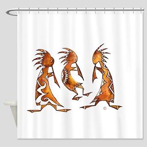 3 Kokopeli in Watercolor Shower Curtain