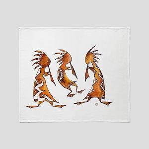 3 Kokopeli in Watercolor Throw Blanket