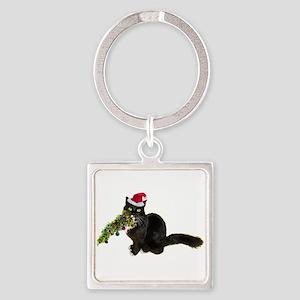 Cat Christmas Tree Square Keychain