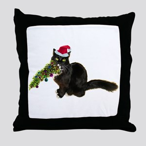 Cat Christmas Tree Throw Pillow