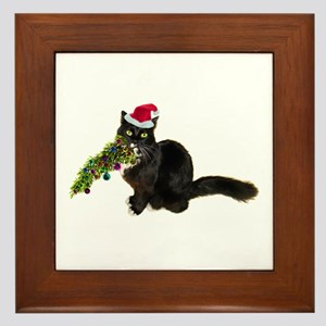 Cat Christmas Tree Framed Tile