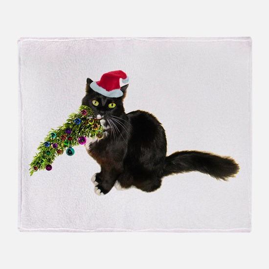 Cat Christmas Tree Throw Blanket