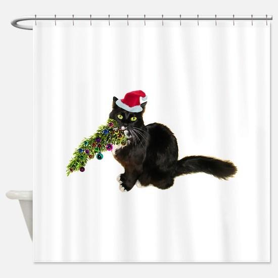 Cat Christmas Tree Shower Curtain