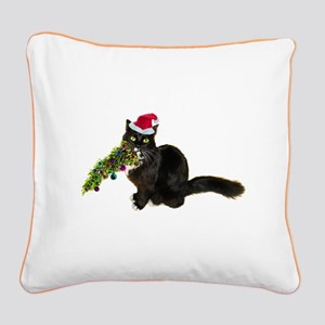 Cat Christmas Tree Square Canvas Pillow