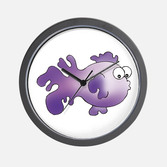 Purple Fancy Fish Wall Clock