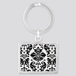 Black and White Modern Damask D Landscape Keychain