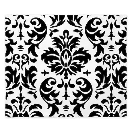 Black And White Modern Damask Design King Duvet By Listing