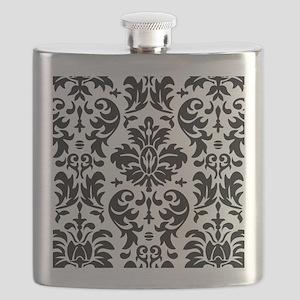 Black and White Modern Damask DESIGN Flask