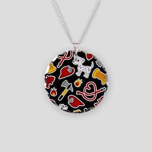 Cute Firefighter Love Print - Black Necklace