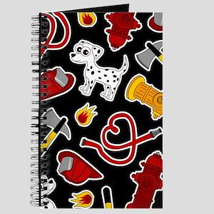 Cute Firefighter Love Print - Black Journal