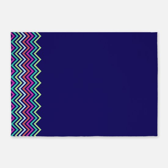 Colorful Zig zag pattern 5'x7'Area Rug