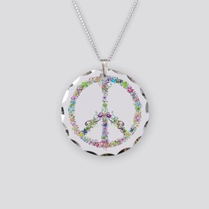 Peace of Flowers Necklace Circle Charm