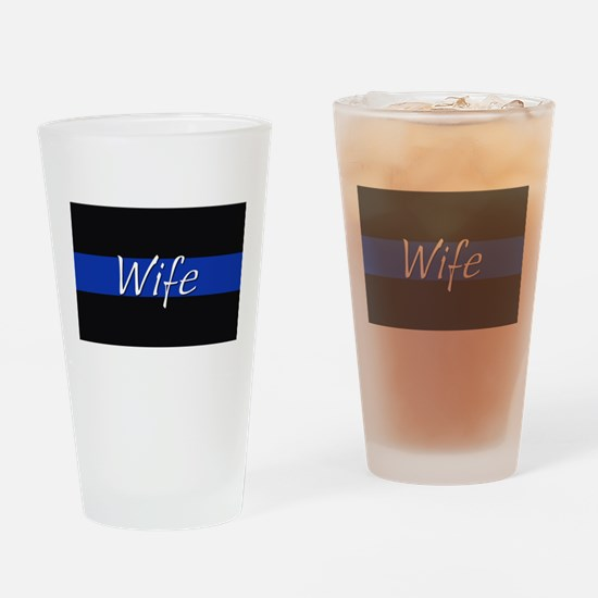 Thin Blue Line Wife Drinking Glass