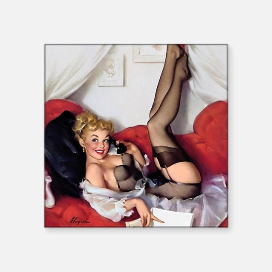 "Classic Pin Ups Square Sticker 3"" x 3"""