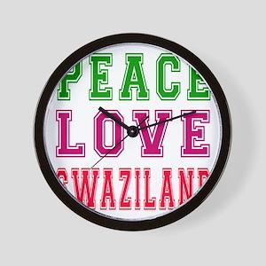 Peace Love Swaziland Wall Clock