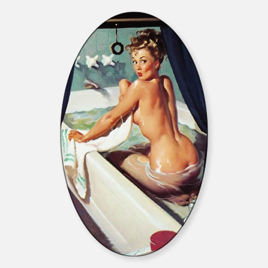 Window Bathing Beauty Pinup Sticker (Oval)