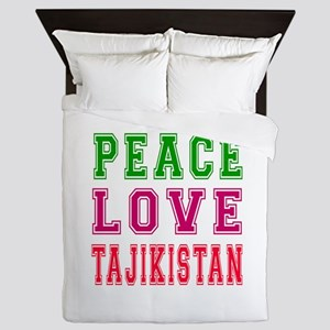 Peace Love Tajikistan Queen Duvet