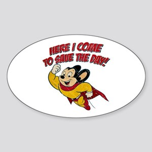 Here I Come to Save the Day Oval Sticker