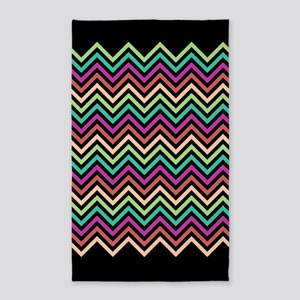 Colorful Chevron Black 3'x5' Area Rug