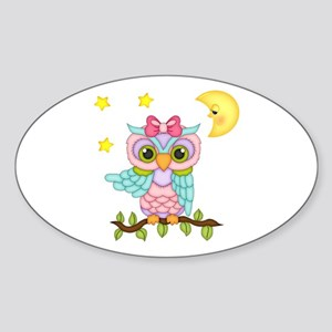 Not Me Girl Owl Sticker (Oval)