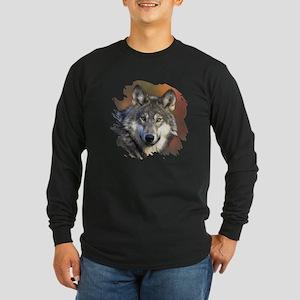 Gray Wolf Long Sleeve Dark T-Shirt