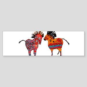 Colorful Totem Ponies Bumper Sticker