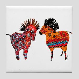 Colorful Totem Ponies Tile Coaster