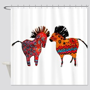 Colorful Totem Ponies Shower Curtain