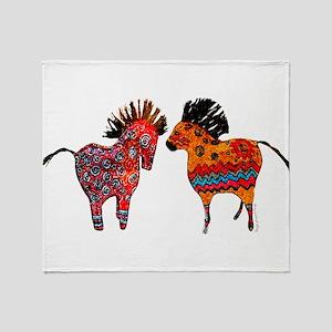 Colorful Totem Ponies Throw Blanket