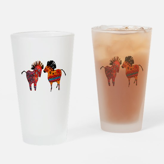 Colorful Totem Ponies Drinking Glass