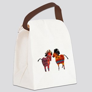 Colorful Totem Ponies Canvas Lunch Bag