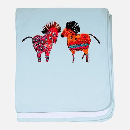Colorful Totem Ponies baby blanket