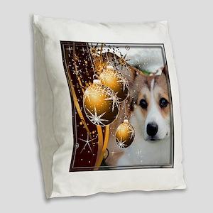 Holiday Sable Corgi Burlap Throw Pillow