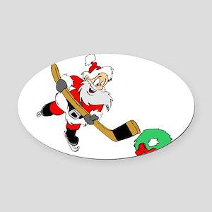 Hockey Santa Oval Car Magnet