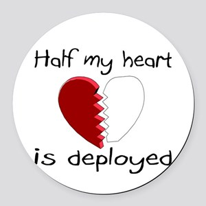 Half My Heart Is Deployed Round Car Magnet