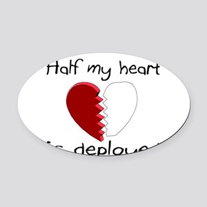 Half My Heart Is Deployed Oval Car Magnet