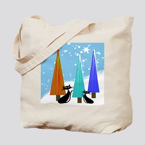 whimsical cats christmas trees Tote Bag