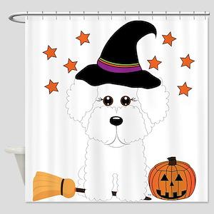 Bichon Frise Witch Shower Curtain