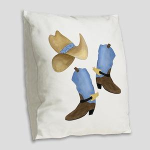 Cowboy - Western Burlap Throw Pillow