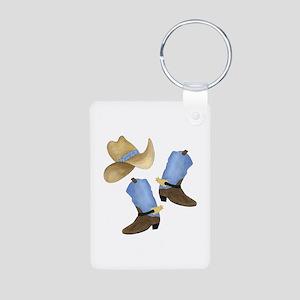 Cowboy - Western Aluminum Photo Keychain